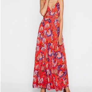 •Express• Red Floral Side Cut-Out Maxi Dress